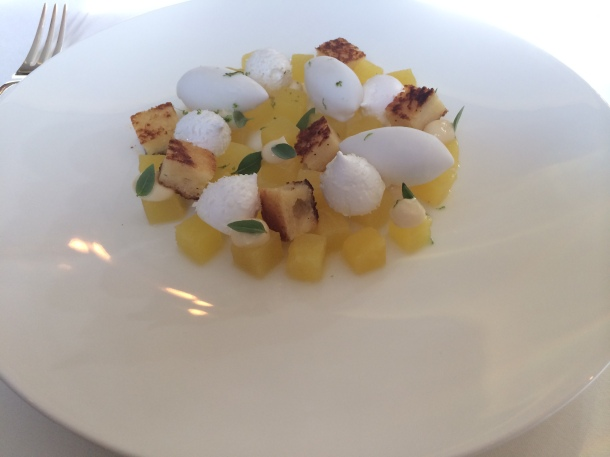 Pineapple, pain perdu, coconut at Marcus