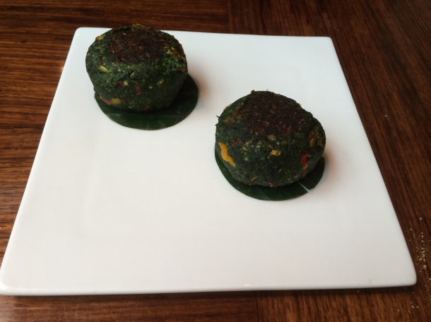 Spinach and fig tikki Amaya