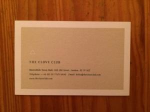 Clove Club business card