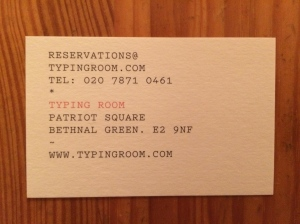 Typing Room business card