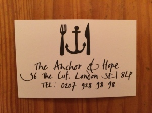 Anchor and Hope business card