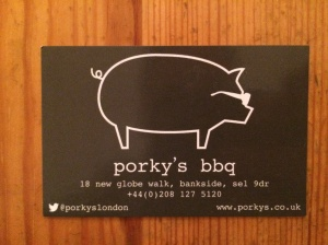 Porky's business card