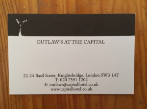 Outlaw's at the Capital business card