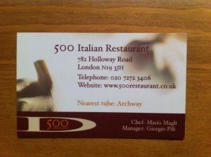 Restaurant 500 business card