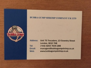 Bubba Gump business card
