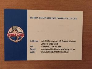 Bubba Gump business card