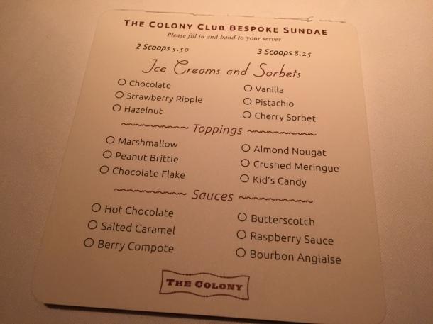 Sundae menu