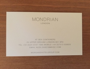 Sea Containers business card
