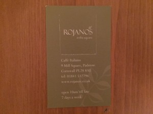 Rojanos in the Square business card