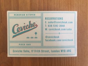 Ceviche business card
