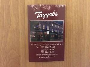 Tayyabs business card