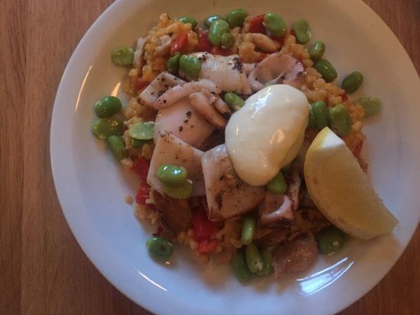 Squid paella