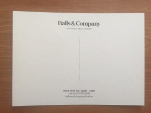 Balls and Company business card