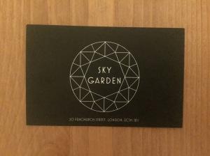 Sky Garden business card